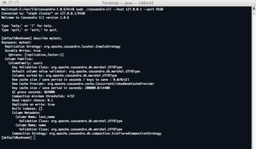 """cassandra connexion et description du keyspace """"mytest"""""""