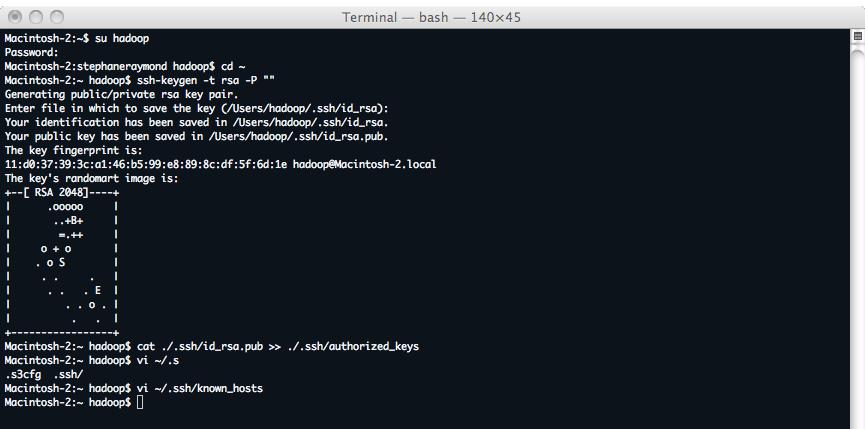 Hadoop génération des cles SSH