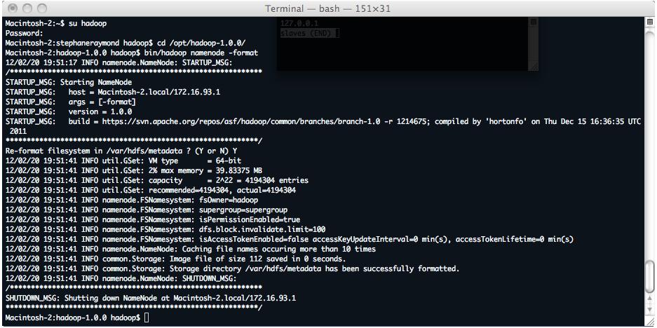 Formatage du HDFS d'hadoop