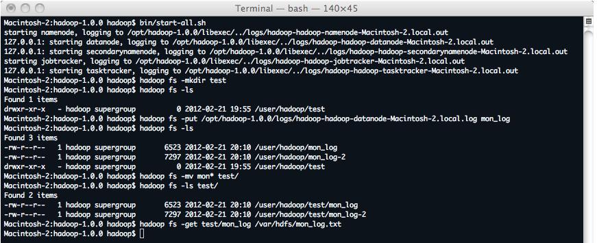 Hadoop manipulation hdfs